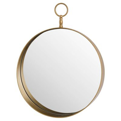 Antique Gold Round Mirror With Decorative Loop