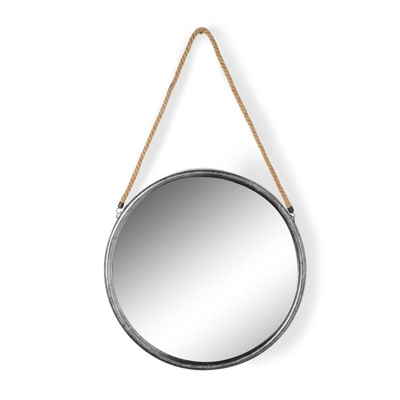 Small Round Silver Metal Mirror on Hanging Rope