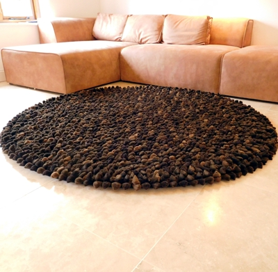 Dreamweavers Chocolate Chamois Pebble Rug ROUND
