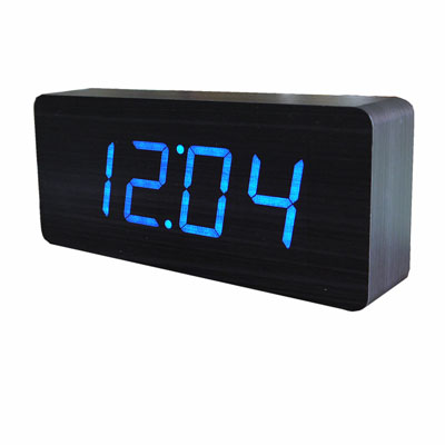 Gingko Large Wooden Alarm Clock Black