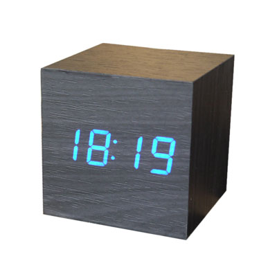 Gingko Mini Wooden Alarm Clock Black