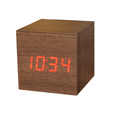 Gingko Mini Wooden Alarm Clock Teak