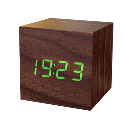 Gingko Mini Wooden Alarm Clock Walnut