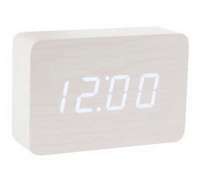 Gingko Wooden Alarm Clock White