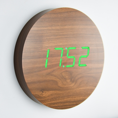 Gingko Wall Click Clock Walnut