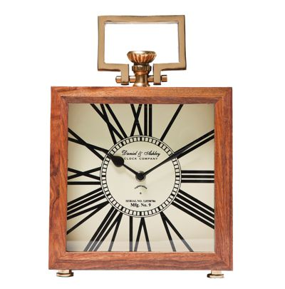 Kare Vintage Roman Wood Mantel Table Clock