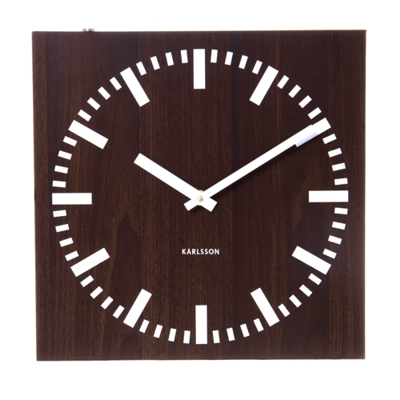 Karlsson Double Sided Square Wall Clock Dark Wood
