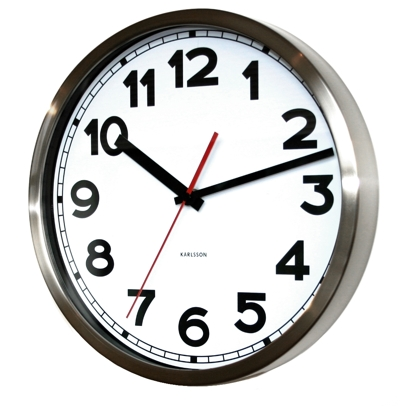Uk Karlsson Numbers Steel Clock White At Contemporary Heaven