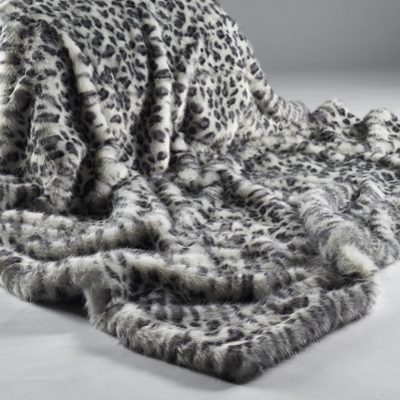 Katrina Hampton Grey White Leopard Faux Fur Throw