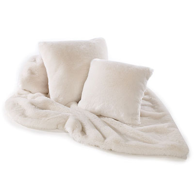 Katrina Hampton Cream Plush Faux Fur Throw