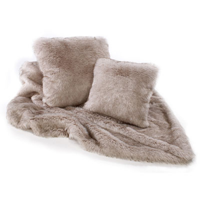 Katrina Hampton Siberian Wolf Faux Fur Throw