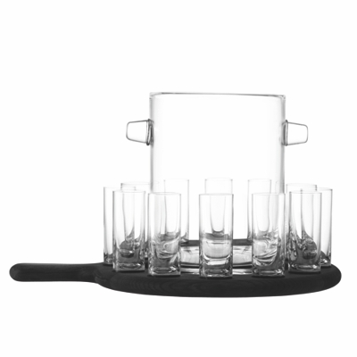 LSA Paddle Vodka Serving Set & Black Beech Paddle