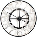 French Numbers Silver and Black Skeleton Clock