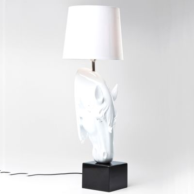 Kare Table Lamp Horse Lowered Head White