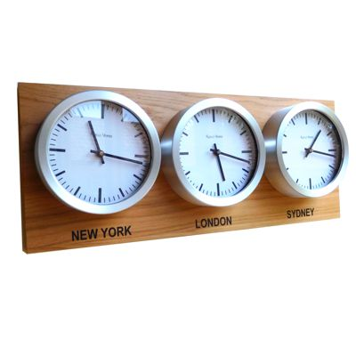 Custom world timezone clocks roco verre custom time zone 3 dial clocks oak gumiabroncs Gallery