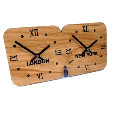 Roco Verre Oak Mantel Desk Time Zone Clock