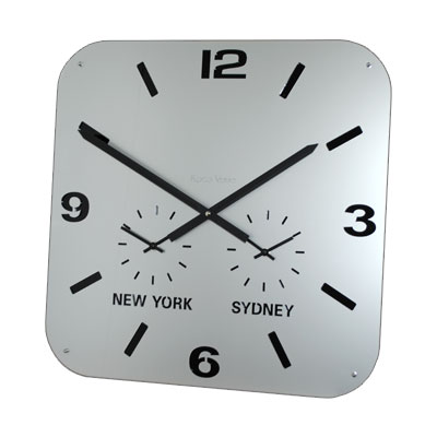 Roco Verre Retro City Time Clock Silver