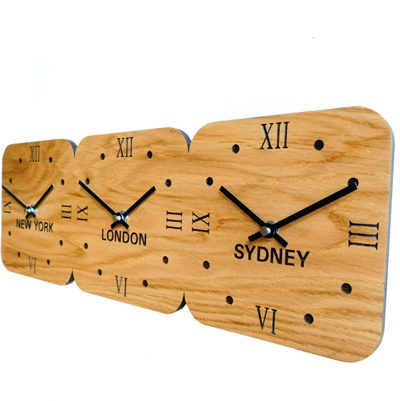 Roco Verre Oak Wooden Time Zone Clock