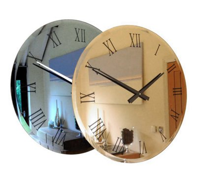 Bronze & Smoke Bevelled Roman Mirror Wall Clock