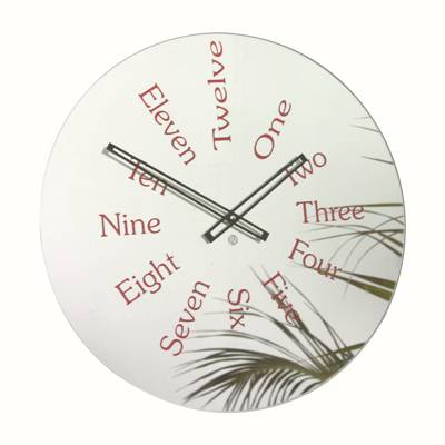 Roco Verre Mirror Written Numbers Clock