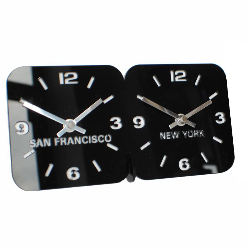 Roco Verre Acrylic Dual Mantel Time Zone Clock