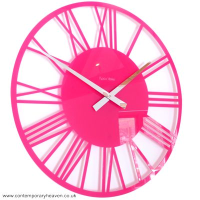 Gloss Cerise Pink Skeleton Roman Wall Clock