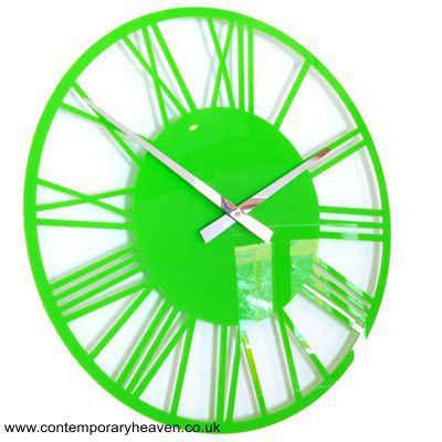 Gloss Lime Green Acrylic Skeleton Roman Wall Clock