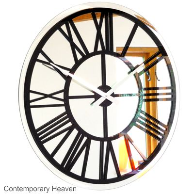 Roco Verre Bevelled Mirror Skeleton Wall Clock