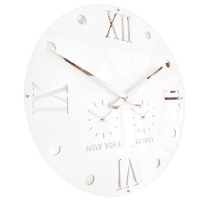 Gloss White Round Retro Roman Timezone Wall Clock