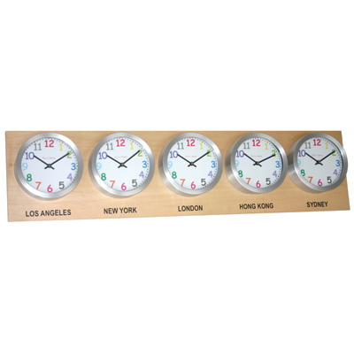 Roco Verre Time Zone 5 Clocks Maple Range