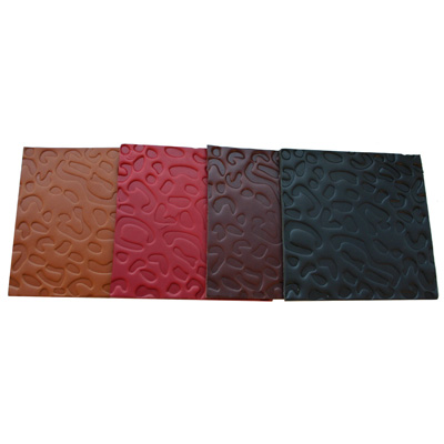 Real Leather Hide Leopard Embossed Square Coasters