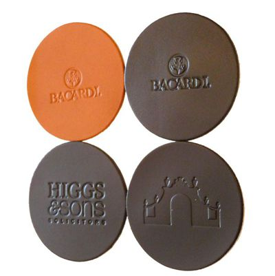 Embossed Debossed Real Leather Coasters Custom