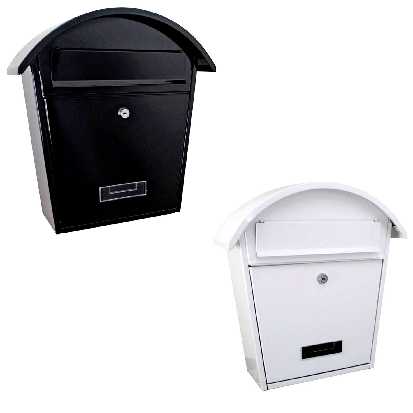 Wall Mounted Letterbox Mail Post Box White & Black