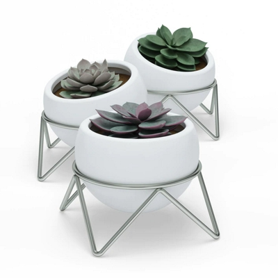 Umbra Potsy Set of 3 Planters White Nickel