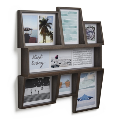 Umbra Edge Multi Photo Wall Display Aged Walnut