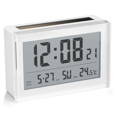 Addex Solar Electronic Clock and Calendar White