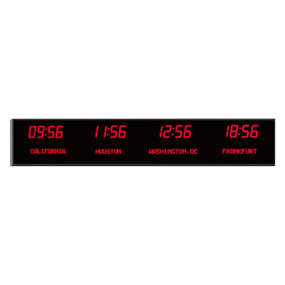 "Roco Verre Deluxe Digital Time Zone Clock 4"" Red"