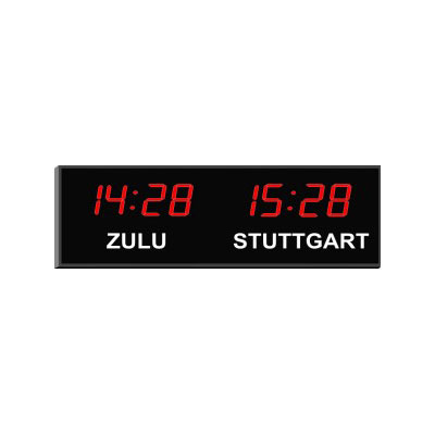 "Roco Verre Digital Time Zone Clock 1.8"" Red Digits"