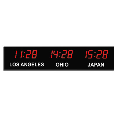 "Roco Verre Digital Time Zone Clock 2.5"" Red Digits"