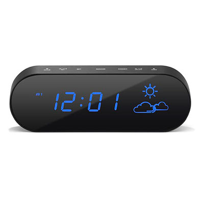 Addex LED Alarm Clock Weather Station Black