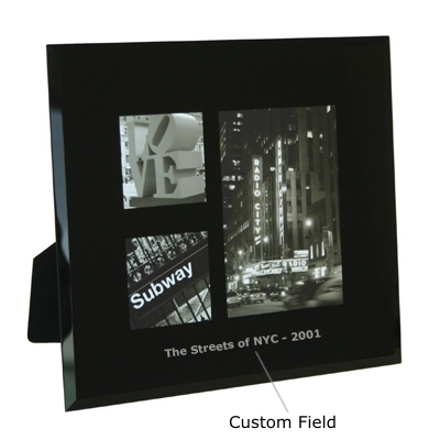 Black Bevelled Glass Three Picture Multi Frame