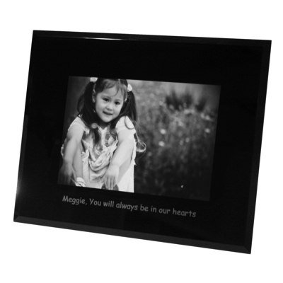 Landscape 4x6 Black Glass Photo Frame Personalised