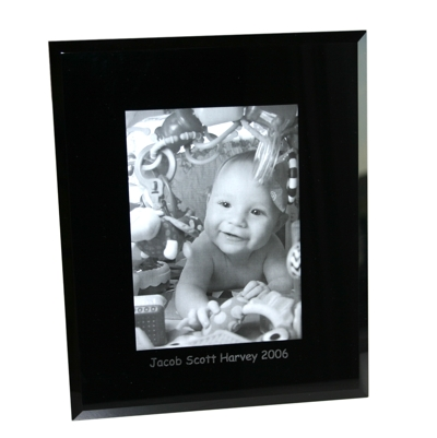 Portrait 4x6 Black Glass Photo Frame Personalised
