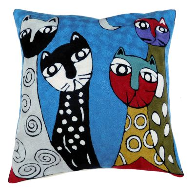 Zaida Cats Blue Cushion 18""