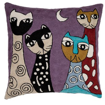 Zaida Cats Purple Cushion 18""