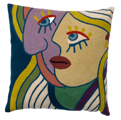 Zaida Handmade Multi Coloured Face Left Cushion