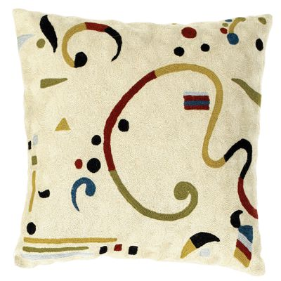 Zaida Kandinsky Cream Ribbon Cushion 18""