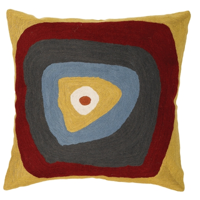Zaida Kandinsky Elipse Mustard Brown Cushion 18""