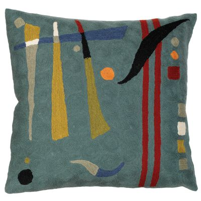 Zaida Kandinsky Teal Abstract Cushion 18""