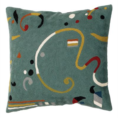 Zaida Kandinsky Teal Ribbon Cushion 18""